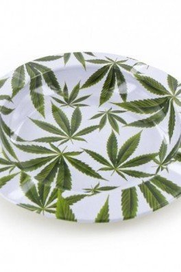 Metal Ashtray Marijuana Leaves